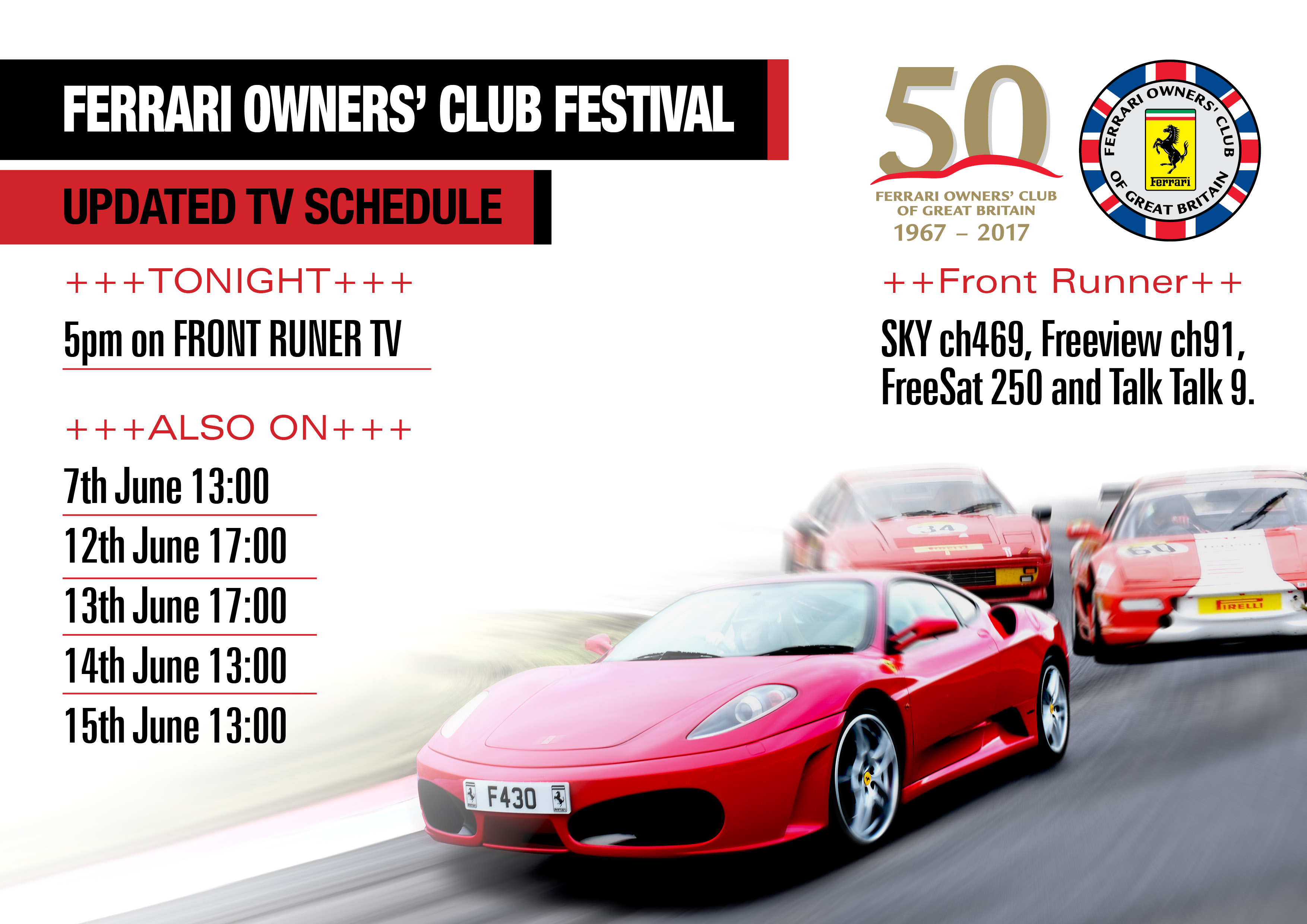 Ferrari Owner' Club Festival at Knockhill 2017 – Full Programme