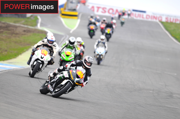McClung leads the Superstock pack into the Reverse Hairpin