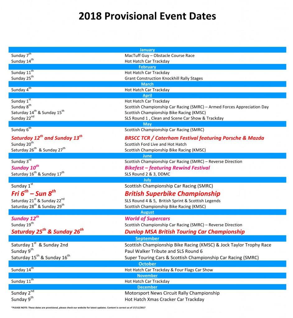 Microsoft Word - 2018 Provisional Dates.doc
