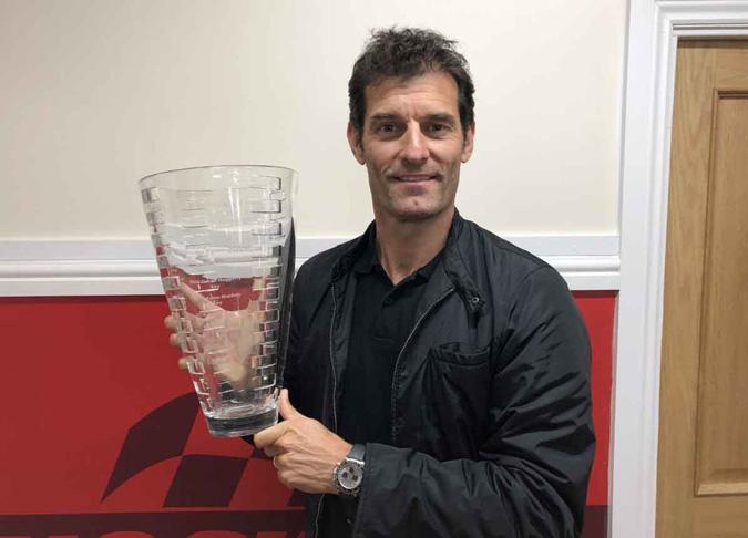 Mark Webber with the David Leslie Trophy