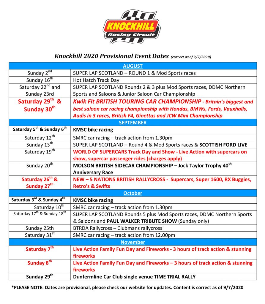 KNockhill 2020 Events Dates